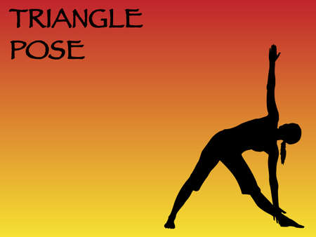 shape triangle: A yoga woman performing triangle pose on a colourful background