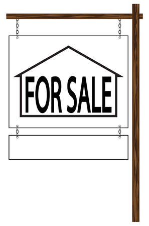 house for sale: A traditional looking hanging house for sale sign with white space isolated on a white background
