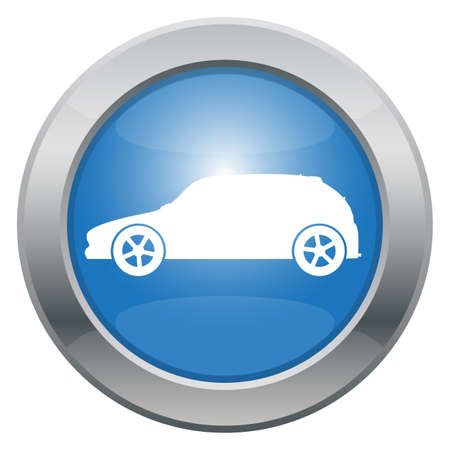 hatchback: A sporty hatchback car icon in blue isolated on a white background Illustration