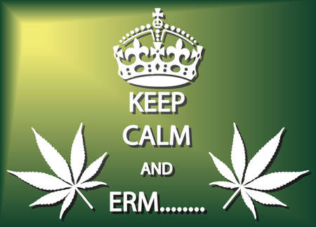 erm: A keep calm and erm cannabis poster or background design Illustration