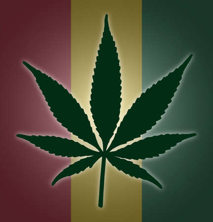 alter: A colourful cannabis leaf on a colourful background Illustration