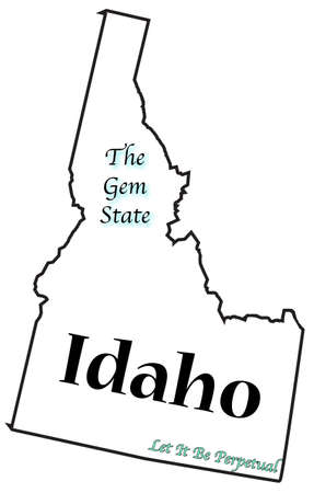 motto: An Idaho state outline with the Motto and slogan isolated on a white background