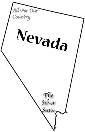 A Nevada state outline with the motto and slogan and isolated on a white background