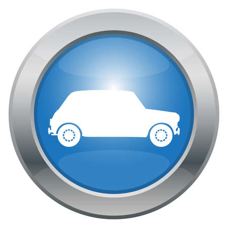 small car: A small car icon in blue isolated on a white background
