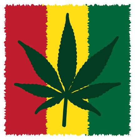 alter: A colourful cannabis leaf symbol isolated on a white background