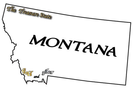 motto: A Montana state outline with the slogan and motto isolated on a white background Illustration