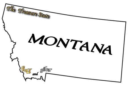 eslogan: Un esquema del estado de Montana con el lema y lema aislado en un fondo blanco