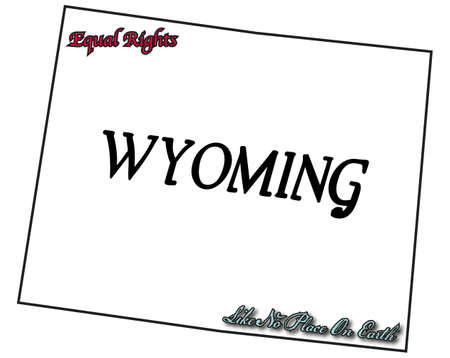 motto: A Wyoming state outline with the motto and slogan isolated on a white background