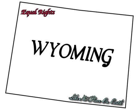 slogan: Un esquema del estado de Wyoming con el lema y lema aislado en un fondo blanco Vectores