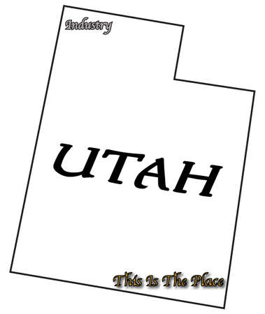 motto: A Utah state outline with motto and slogan isolated on a white background Illustration