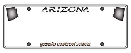 car plate: An Arizona state license plate design isolated on a white background Illustration