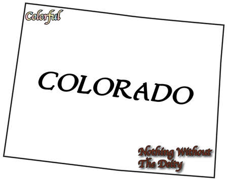 colorado state: A Colorado state outline with motto and slogan isolated on a white background