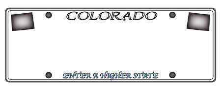 state of colorado: A Colorado state license plate design isolated on a white background