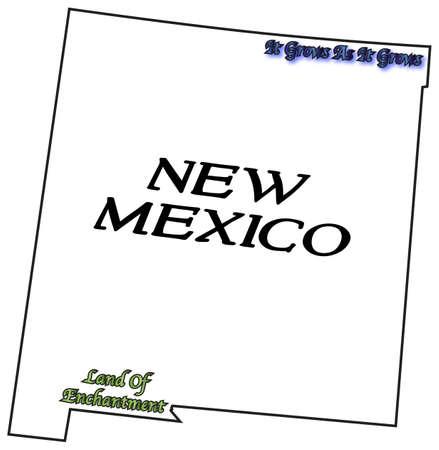 eslogan: Un esquema del estado de Nuevo M�xico con el lema y lema aislado en un fondo blanco