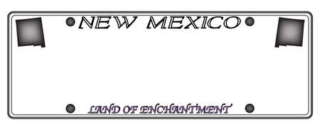 license plate: A New Mexico state license plate design isolated on a white background