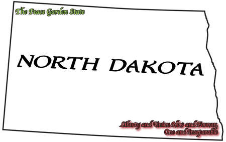 motto: A North Dakota state outline with motto and slogan isolated on a white background