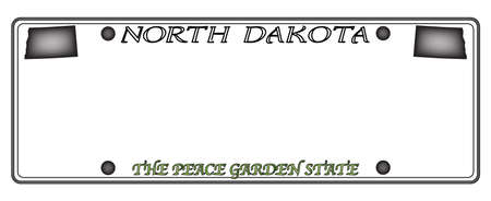 license: A North Dakota state license plate design isolated on a white background