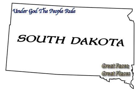 eslogan: Un esquema del estado de Dakota del Sur con el lema y lema aislado en un fondo blanco