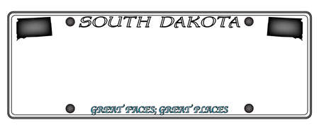 license plate: A South Dakota state license plate design isolated on a white background Illustration