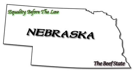 statehood: A Nebraska state outline with the date of statehood isolated on a white background Illustration