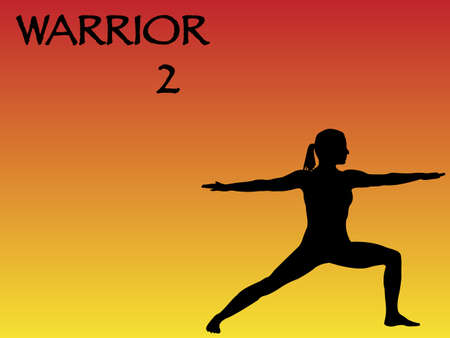 warrior pose: A yoga woman performing warrior 2 pose on a colourful background