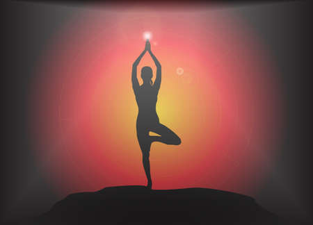supple: A yoga woman silhouette performing tree pose on a dark colourful background with a glare