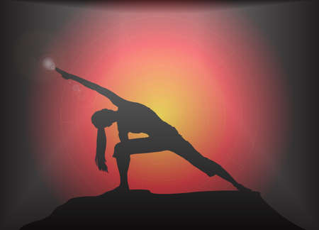 supple: A yoga woman silhouette performing extended angle pose on a dark colourful background with a glare Illustration