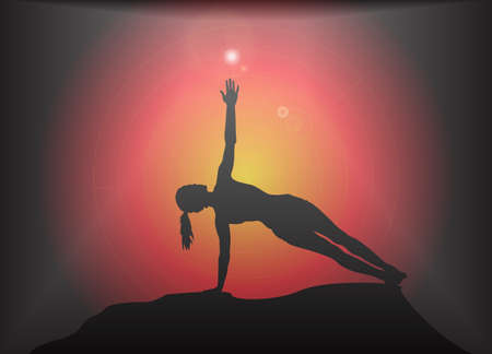 supple: A yoga woman silhouette performing side plank pose on a dark colourful background with a glare