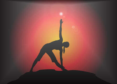supple: A yoga woman silhouette performing triangle pose on a dark colourful background with a glare Illustration