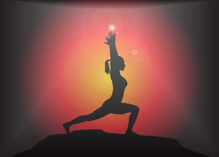 supple: A yoga woman silhouette performing high lunge pose on a dark colourful background with a glare