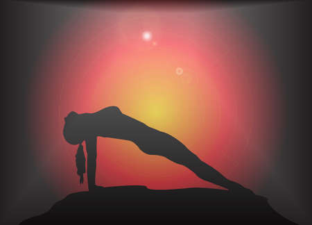 supple: A yoga woman silhouette performing reverse plank pose on a dark colourful background with a glare