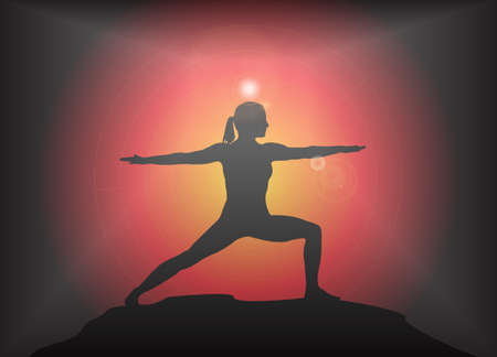 supple: A yoga woman silhouette performing warrior pose on a dark colourful background with a glare