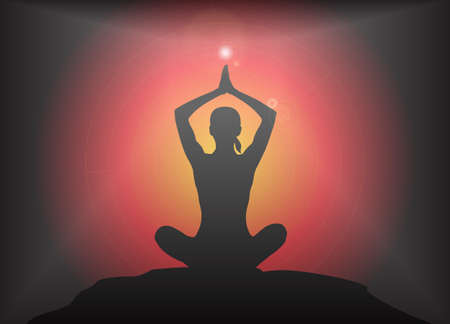 supple: A yoga woman silhouette performing arms overhead lotus pose on a dark colourful background with a glare Illustration