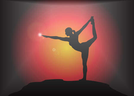 supple: A yoga woman silhouette performing dancer pose on a dark colourful background with a glare