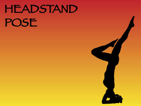headstand: A yoga woman performing headstand pose on a colourful background