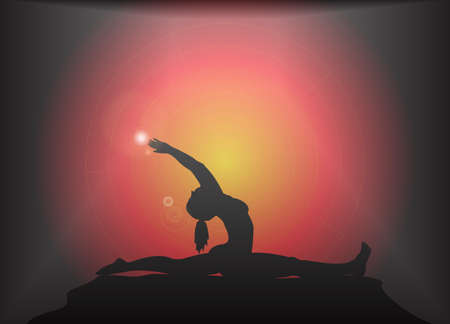 supple: A yoga woman silhouette performing splits pose on a dark colourful background with a glare