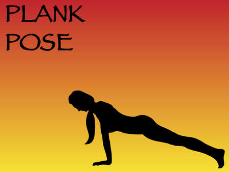 plank: A yoga woman performing plank pose on a colourful background