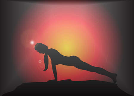 supple: A yoga woman silhouette performing plank pose on a dark colourful background with a glare Illustration