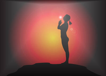 supple: A yoga woman silhouette performing mountain pose on a dark colourful background with a glare Illustration