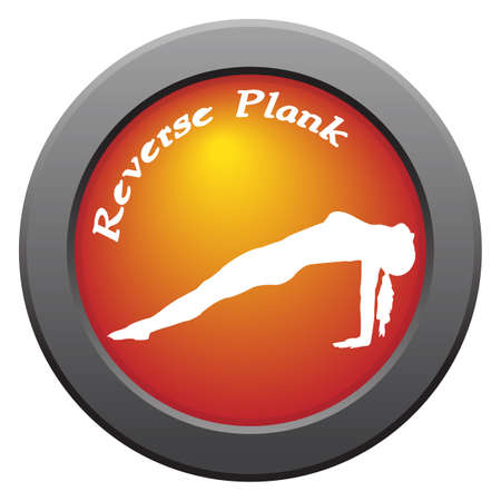 reverse: A yoga woman silhouette performing reverse plank pose on an red icon isolated on a white background Illustration