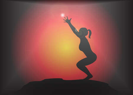 supple: A yoga woman silhouette performing chair pose on a dark colourful background with a glare