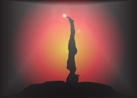 supple: A yoga woman silhouette performing a headstand pose on a dark colourful background with a glare