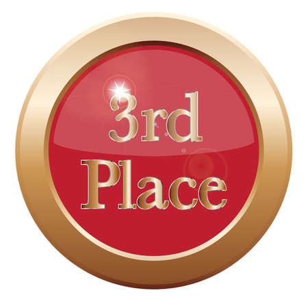 3rd: A 3rd place icon isolated on a white background Illustration