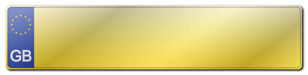 gb: A blank GB Great Britain EU standard rear license plate isolated on a white background Illustration