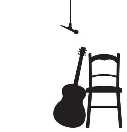 A Guitar, Chair and Microphone silhouette isolated on a white background Illustration