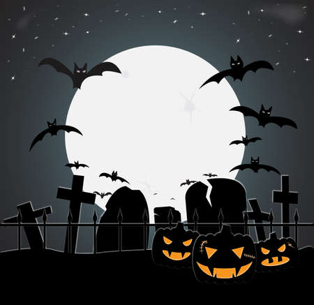 A halloween graveyard scene at night with bats and pumpkins
