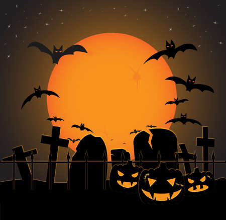 A halloween graveyard scene in orange at night with bats and pumpkins Illustration