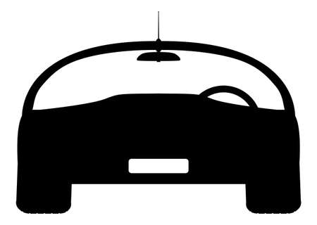windscreen: A front of sports car silhouette design isolated on a white background Illustration