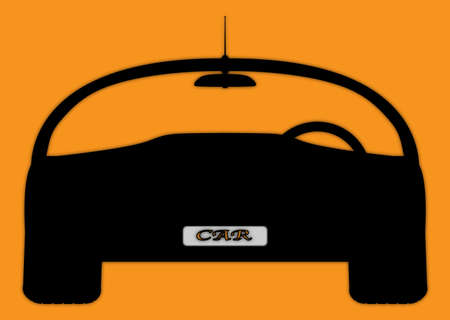 front wheel drive: A front of sports car silhouette design isolated on an orange background