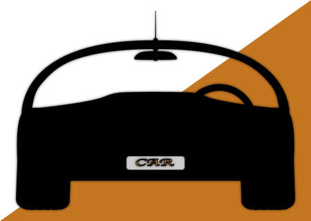 windscreen: A front of sports car silhouette design on an orange and white background